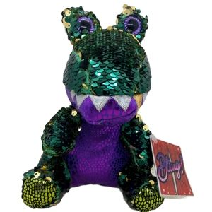 """Bling Allie """"The Rapper"""" Plush Sequin Dinosaur Toy"""